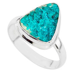 925 sterling silver 6.57cts natural dioptase solitaire ring jewelry size 9 t3328
