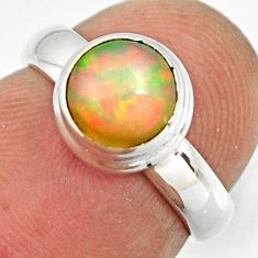 925 sterling silver 1.99cts natural ethiopian opal solitaire ring size 4 r26264