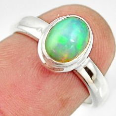 925 sterling silver 2.17cts natural ethiopian opal solitaire ring size 6 r26280