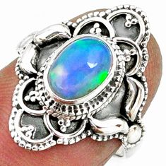 925 sterling silver 2.14cts natural ethiopian opal solitaire ring size 6 r61150