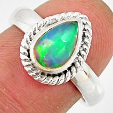 925 sterling silver 2.24cts natural ethiopian opal solitaire ring size 7 r26297