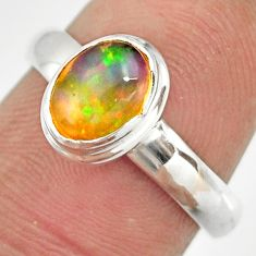 925 sterling silver 2.09cts natural ethiopian opal solitaire ring size 7 r26380