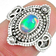 925 sterling silver 1.45cts natural ethiopian opal solitaire ring size 7 r59152