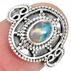 925 sterling silver 1.66cts natural ethiopian opal solitaire ring size 7 r59169