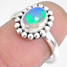 925 sterling silver 2.11cts natural ethiopian opal solitaire ring size 7 r75333