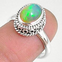 925 sterling silver 2.13cts natural ethiopian opal solitaire ring size 7 r75352