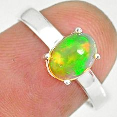 925 sterling silver 2.07cts natural ethiopian opal solitaire ring size 7 r83998