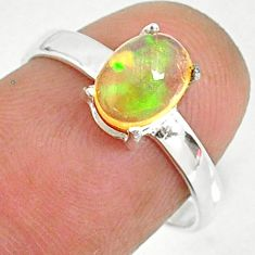 925 sterling silver 1.92cts natural ethiopian opal solitaire ring size 7 r84012