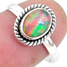 925 sterling silver 2.10cts natural ethiopian opal solitaire ring size 7 t2777
