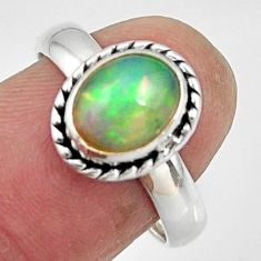 925 sterling silver 3.19cts natural ethiopian opal solitaire ring size 8 r47574