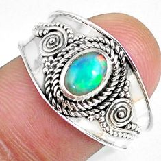 925 sterling silver 1.54cts natural ethiopian opal solitaire ring size 8 r59057