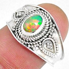 925 sterling silver 1.47cts natural ethiopian opal solitaire ring size 8 r59080