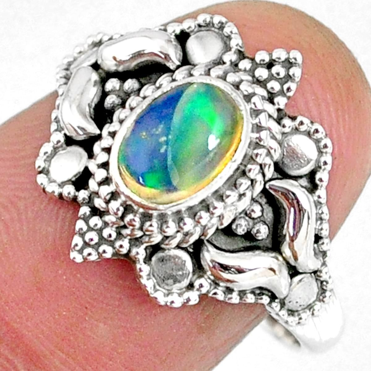 Natural Ethiopian Opal Solid 925 Sterling Silver Ring Gemstone Silver Handmade Ring Size 6