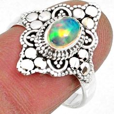 925 sterling silver 2.18cts natural ethiopian opal solitaire ring size 8 r61144