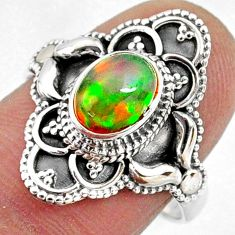 925 sterling silver 2.12cts natural ethiopian opal solitaire ring size 8 r61160