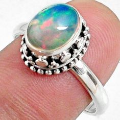 925 sterling silver 2.92cts natural ethiopian opal solitaire ring size 8 r64510