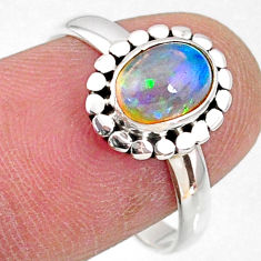 925 sterling silver 2.10cts natural ethiopian opal solitaire ring size 8 r64586