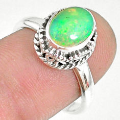 925 sterling silver 2.98cts natural ethiopian opal solitaire ring size 8 r75369