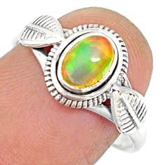 925 sterling silver 1.51cts natural ethiopian opal solitaire ring size 8 r85468