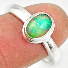 925 sterling silver 2.13cts natural ethiopian opal solitaire ring size 9 r26276