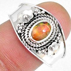 925 sterling silver 1.63cts natural ethiopian opal solitaire ring size 9 r59004