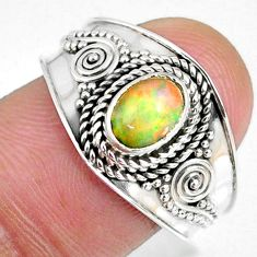 925 sterling silver 1.53cts natural ethiopian opal solitaire ring size 9 r59060