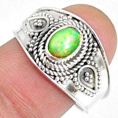 925 sterling silver 1.54cts natural ethiopian opal solitaire ring size 9 r59069