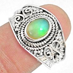 925 sterling silver 2.17cts natural ethiopian opal solitaire ring size 9 r69037