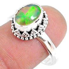 925 sterling silver 2.98cts natural ethiopian opal solitaire ring size 9 r75412
