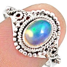 925 sterling silver 2.13cts natural ethiopian opal solitaire ring size 9 r82324