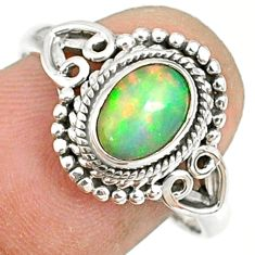 925 sterling silver 2.12cts natural ethiopian opal solitaire ring size 9 r82384