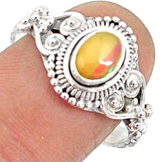 925 sterling silver 1.56cts natural ethiopian opal solitaire ring size 9 r85490