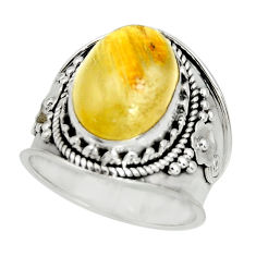 925 sterling silver 6.90cts natural golden rutile solitaire ring size 8 r27559