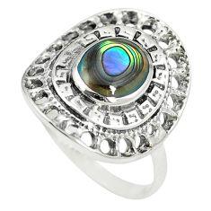 925 sterling silver natural green abalone paua seashell ring size 6.5 c12355