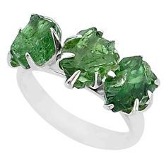 925 sterling silver 8.87cts natural green apatite raw fancy ring size 7 t7049