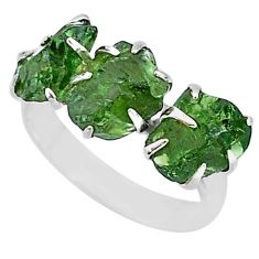 925 sterling silver 8.84cts natural green apatite raw fancy ring size 8 t7047