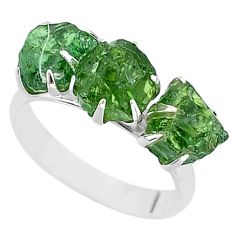 925 sterling silver 9.33cts natural green apatite raw fancy ring size 9 t7051