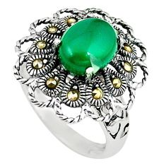 925 sterling silver natural green chalcedony marcasite ring size 8 c16339