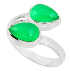 925 sterling silver 4.68cts natural green chalcedony pear ring size 7.5 r37968