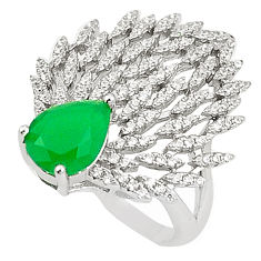 925 sterling silver natural green chalcedony pear ring jewelry size 8 c17869