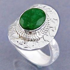 925 sterling silver 4.28cts natural green emerald adjustable ring size 8 r54748
