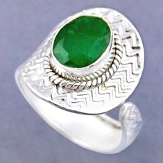 925 sterling silver 4.08cts natural green emerald adjustable ring size 8 r54784