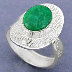 925 sterling silver 3.91cts natural green emerald adjustable ring size 8 r63334