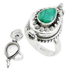 925 sterling silver 2.47cts natural green emerald poison box ring size 7 t52789