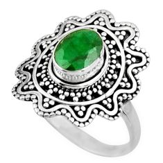 925 sterling silver 2.11cts natural green emerald solitaire ring size 8.5 r54347
