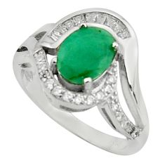 925 sterling silver 4.02cts natural green emerald white topaz ring size 8 c10009