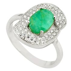 925 sterling silver natural green emerald white topaz ring size 8 c22292