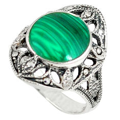 925 sterling silver natural green malachite (pilot's stone) ring size 6.5 c12032