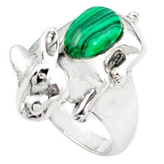 925 sterling silver natural green malachite (pilot's stone) ring size 6.5 c12050