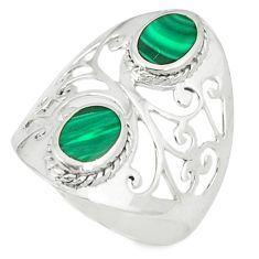 925 sterling silver natural green malachite (pilot's stone) ring size 8 c12890